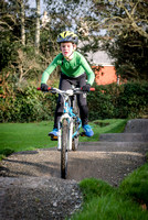 Alex tries out the mountain bike track at Wadebridge Primary School.