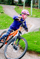 Maddie tries out the mountain bike track at Wadebridge Primary School.