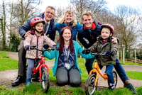 Back from left - Teacher Tom Slater, Head Teacher Tamsin Preston and Teacher Tom Fox with reception and nursery children Pippa and Leo and One Family Customer and Teaching Assistant Fiona Charman, exc
