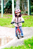 Pippa tries out the mountain bike track at Wadebridge Primary School.