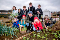 OneFamily customer Tony Reed with young allotmenteers from Westfield Allotment and Garden Society (WAGS) who are delighted to hear that they have been awarded a £5000 grant from OneFamily Community Fu