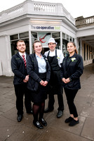 From left - Team Leader Karl Shellam, Team Manager Sam Chesters, Customer Service Assistant Marco Stabb and Team Leader Roxana Cercel at the Midcounties Co-operative, Cheltenham.