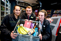From left - Team Leaders Roxana Cercel and Karl Shellam and Team Manager Sam Chesters with some of the Fair-trade products at the Midcounties Co-operative, Cheltenham.