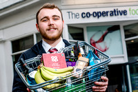 Team Leader Karl Shellam with some of the Fair-trade products at the Midcounties Co-operative, Cheltenham.