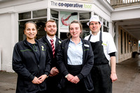 From left - Team Leaders Roxana Cercel and Karl Shellam, Team Manager Sam Chesters and Customer Service Assistant Marco Stabb at the Midcounties Co-operative, Cheltenham.