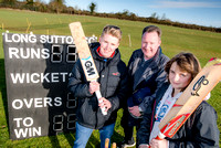 From left - Long Sutton Junior Player Niamh Holland aged 12, OneFamily customer Jason Lyons and Sunday Team Captain Jack Lyons are delighted to hear that Long Sutton Cricket Club has won a £5000 award